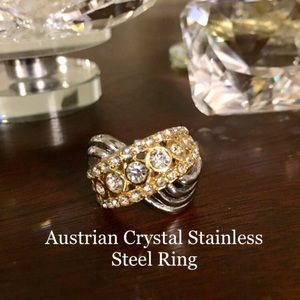 Ring:White Austrian Crystal Stainless Steel Ring.